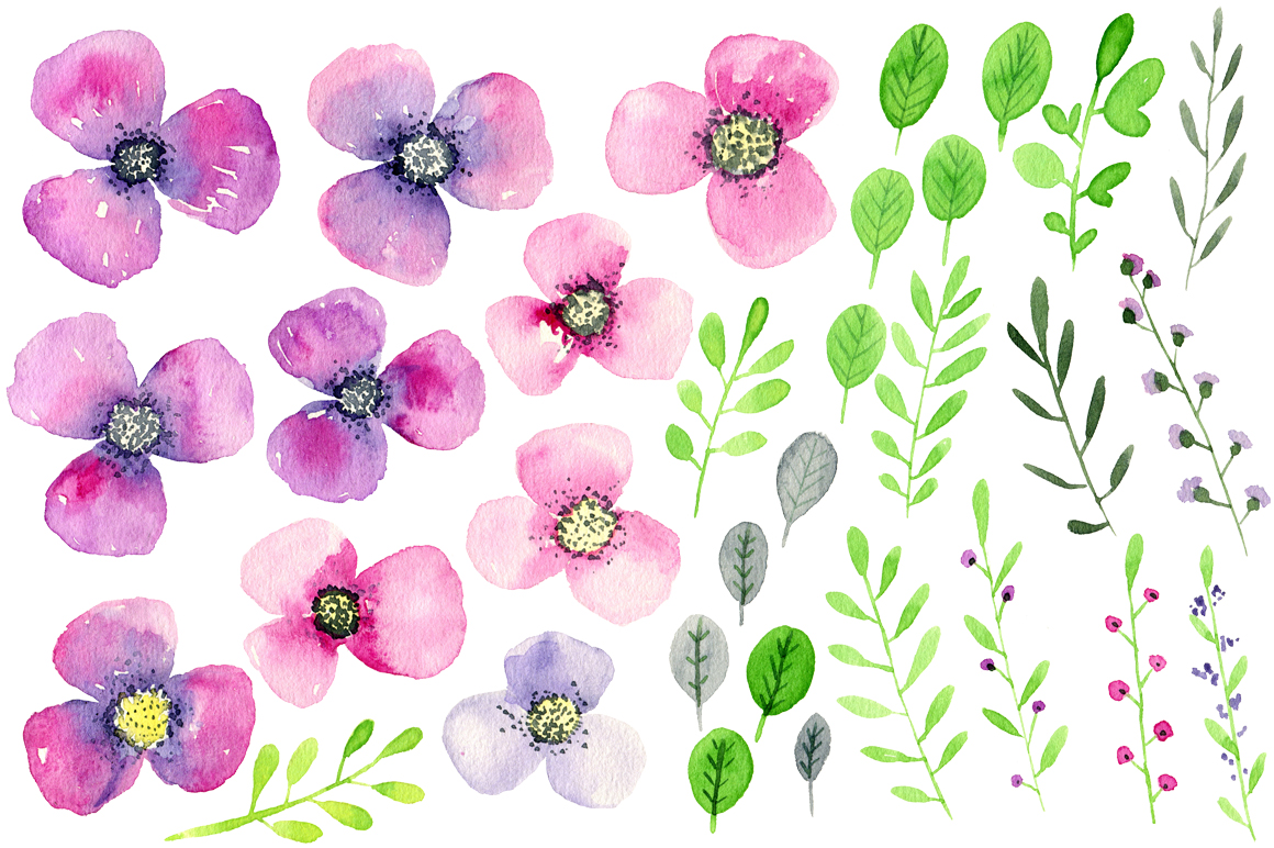 Violet & purple watercolor flowers example image 2