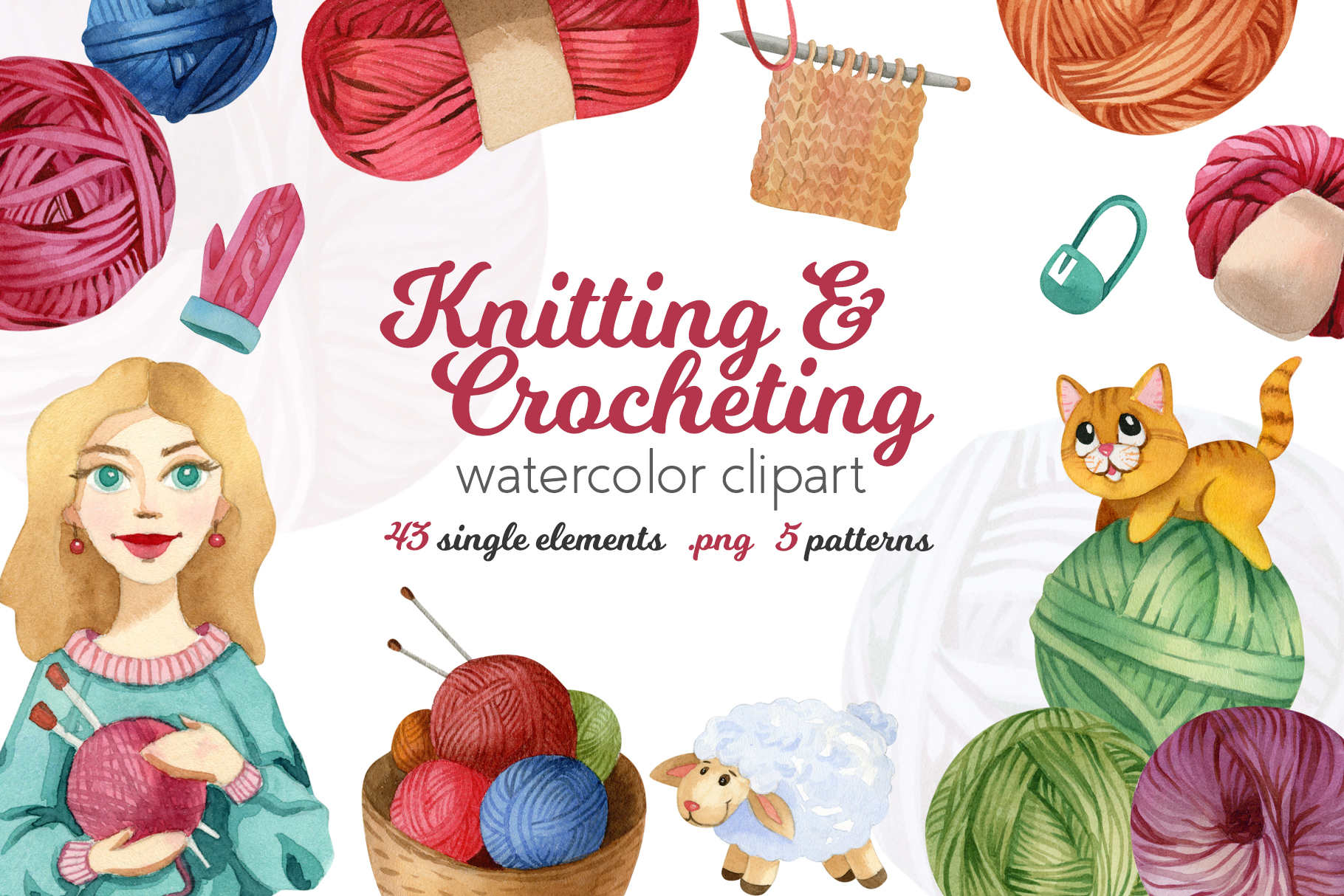 Watercolor Knitting and Crocheting Set example image 1