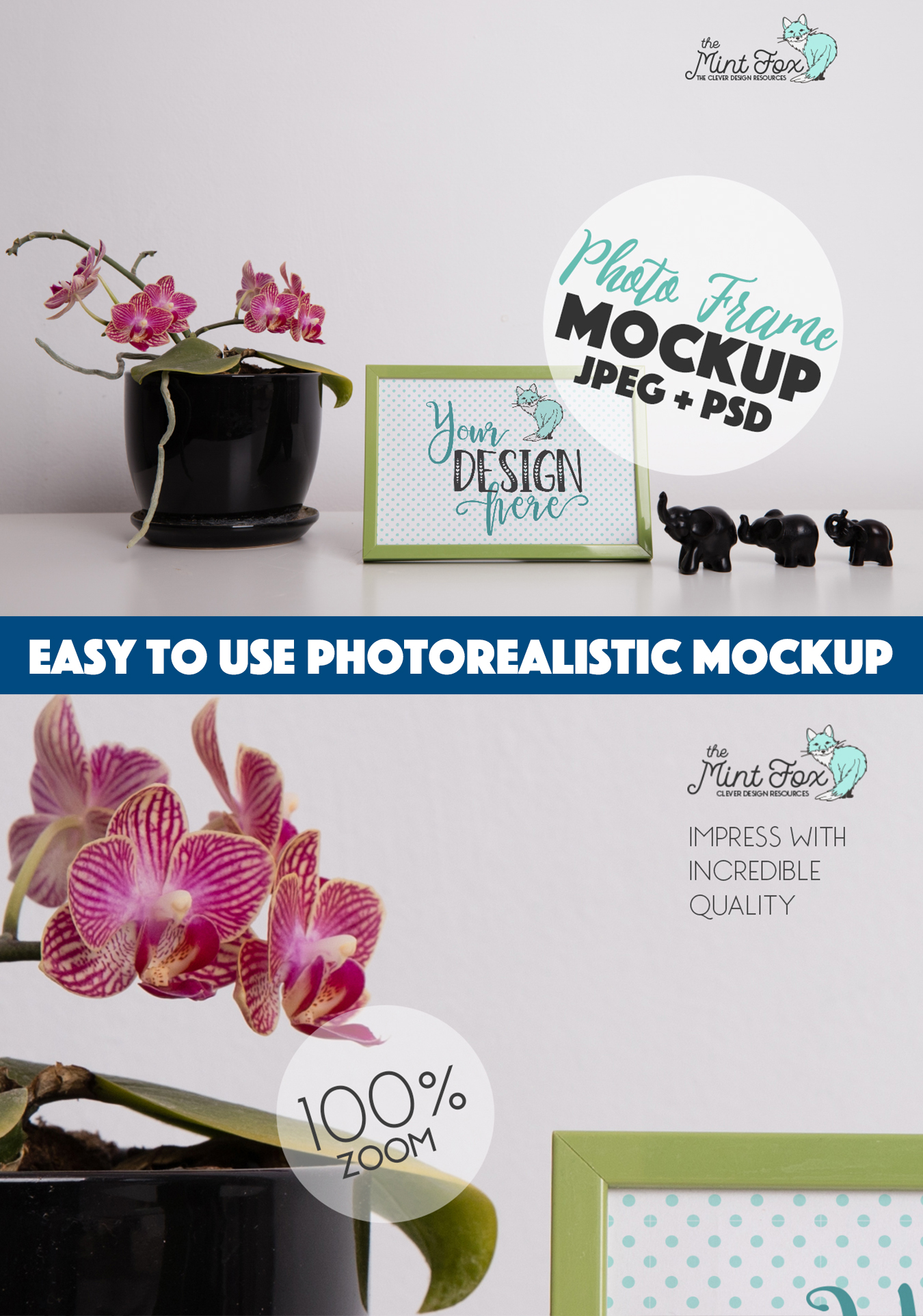 Frame Mockup with Orchid and Elephants | JPG & PSD Mock Up example image 2