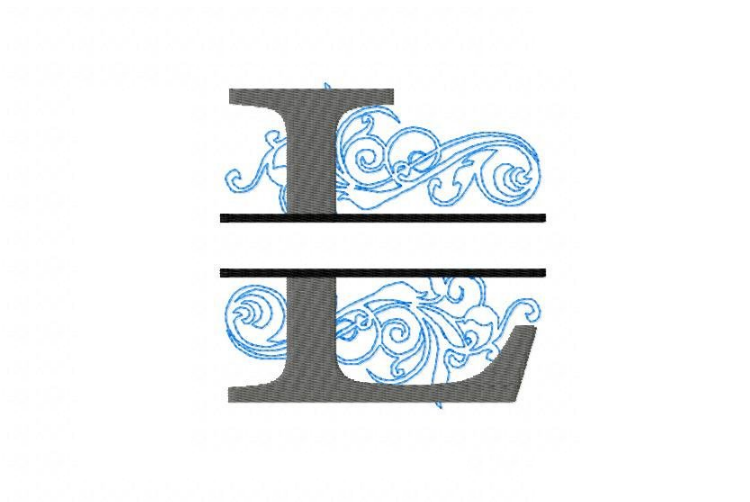 Embroidery Fonts Split Monogram, Monogram L, 4X4 5X7 6x10 example image 2