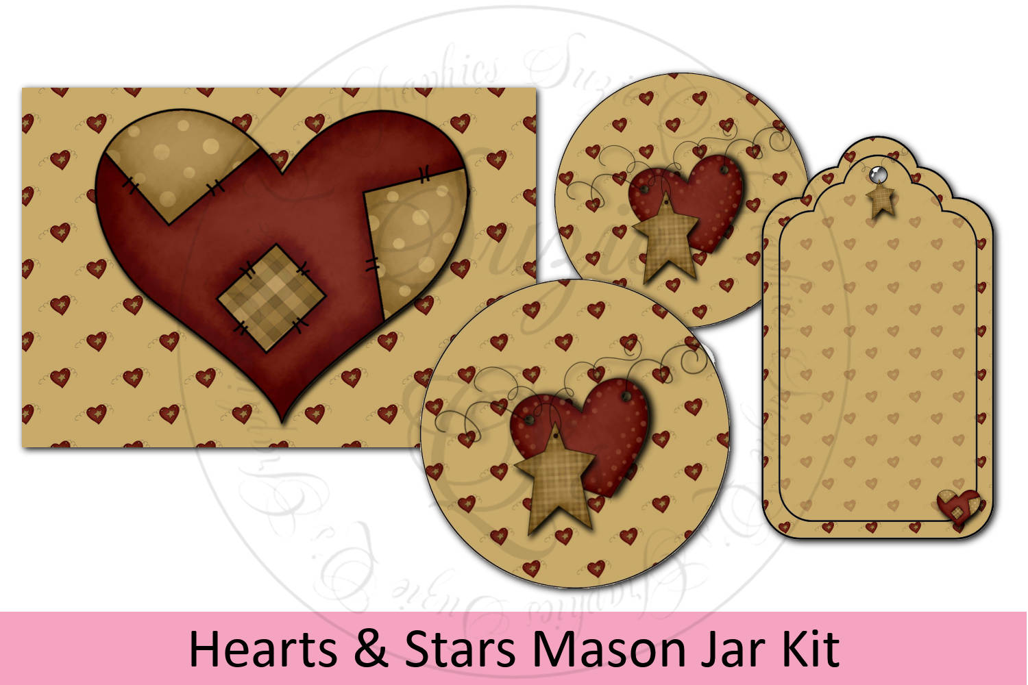 Heart and Star Jar Kit - labels and tag example image 1