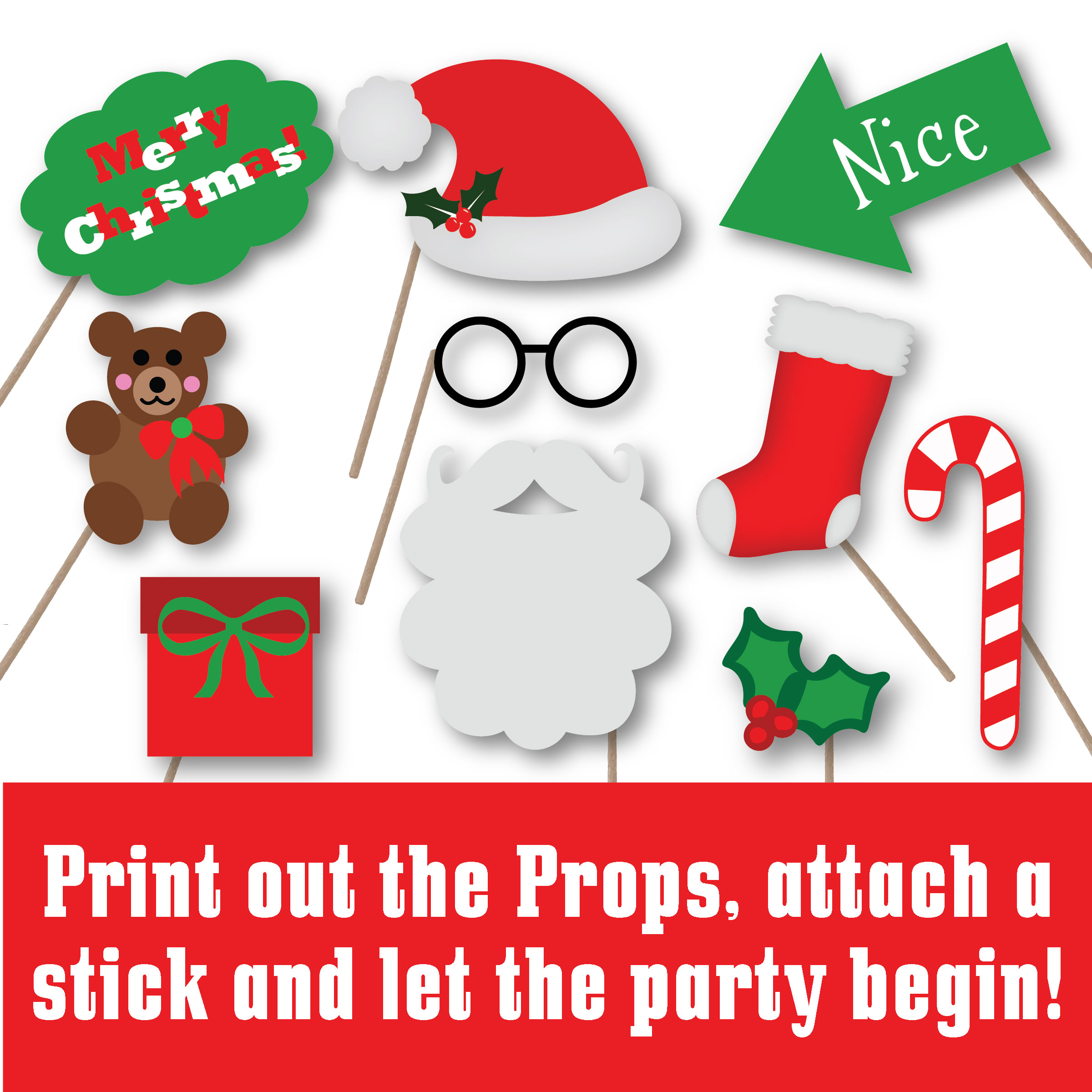 Christmas Photo Booth Props - SVG Cut File - PNG - DXF example image 2