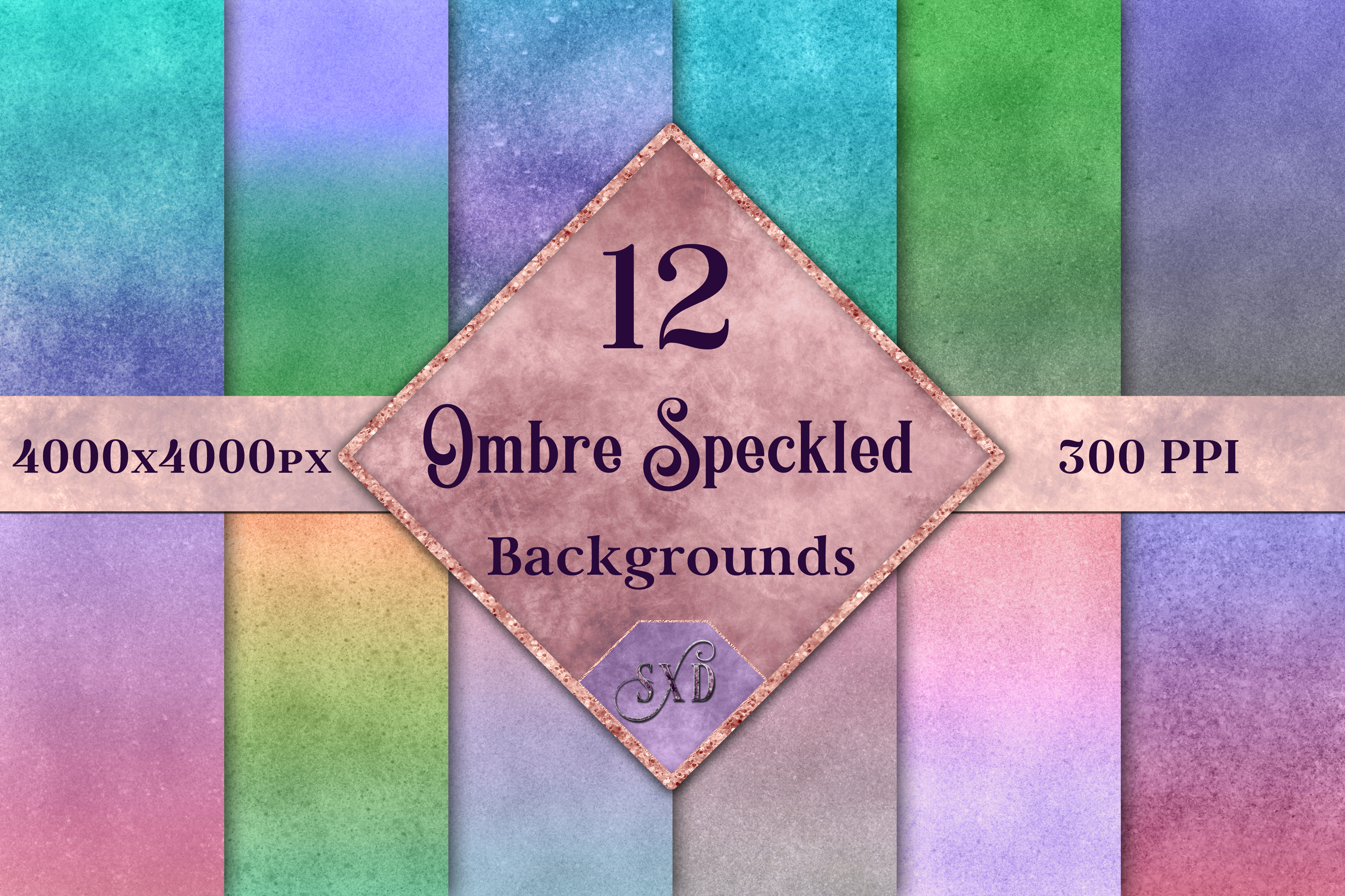 Ombre Speckled Backgrounds - 12 Image Textures Set example image 1