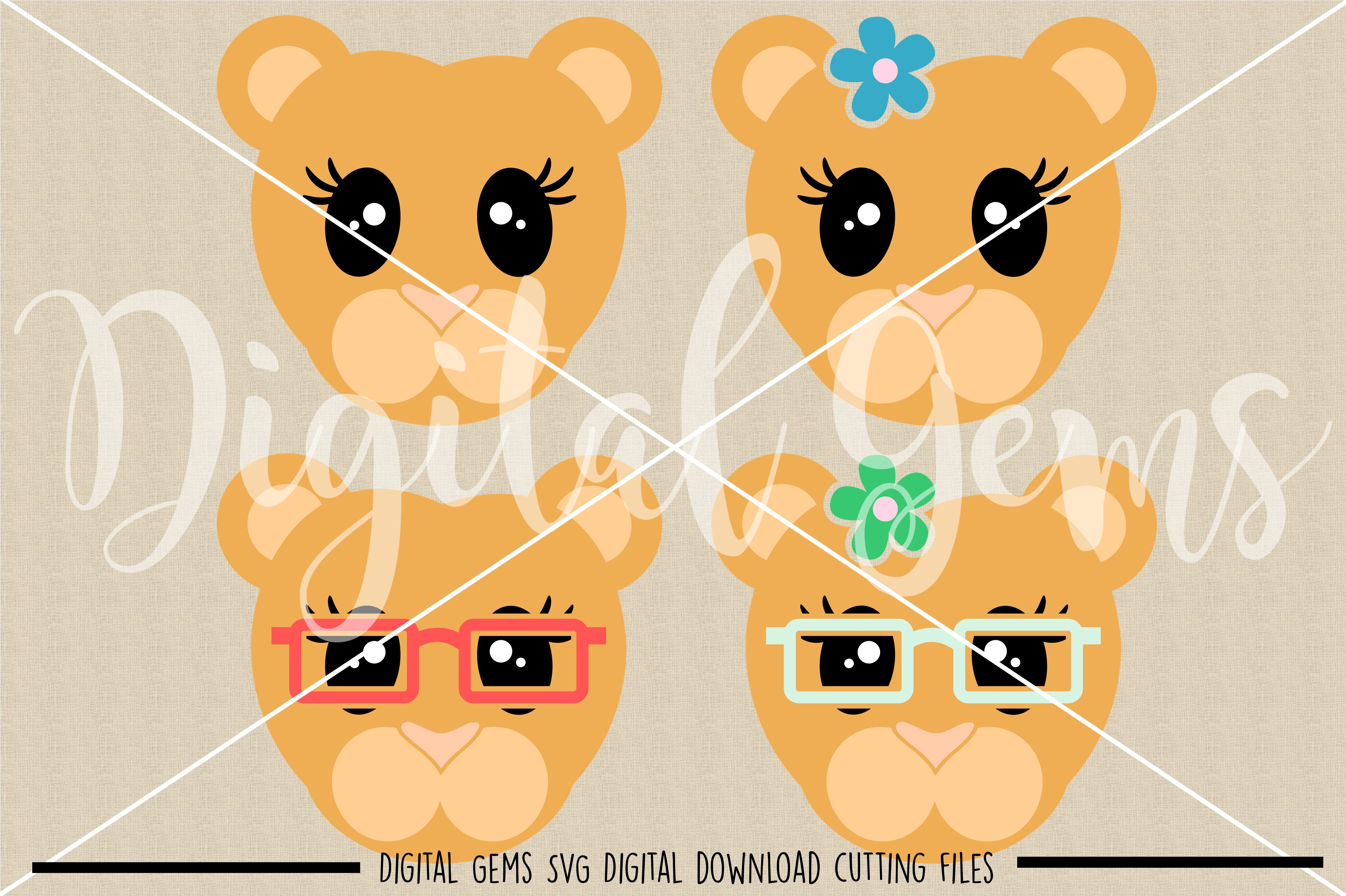 Lioness faces SVG / PNG / EPS / DXF Files example image 2