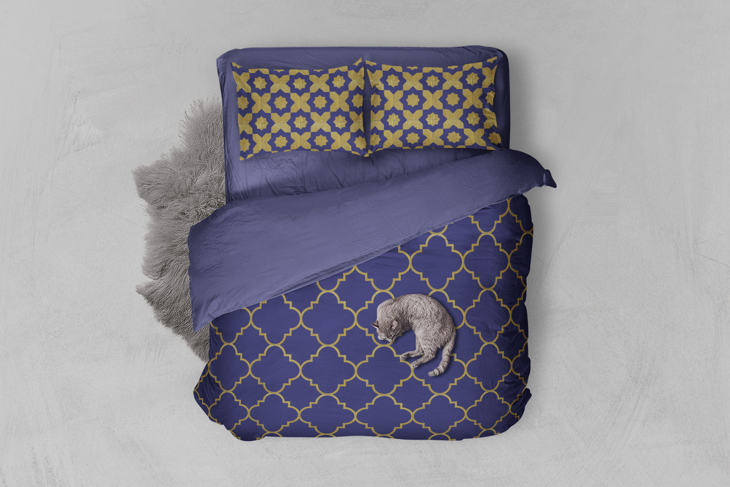 8 Seamless Moroccan Patterns - Gold & Cobalt Blue Set 2 example image 2
