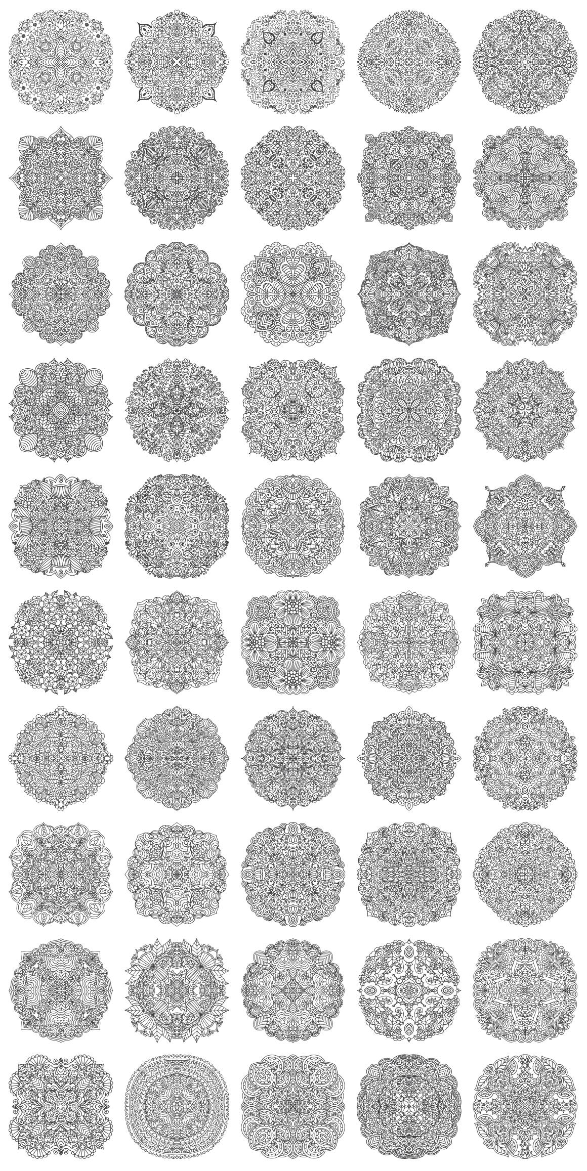 100 Vector Mandalas Round Ornaments example image 3