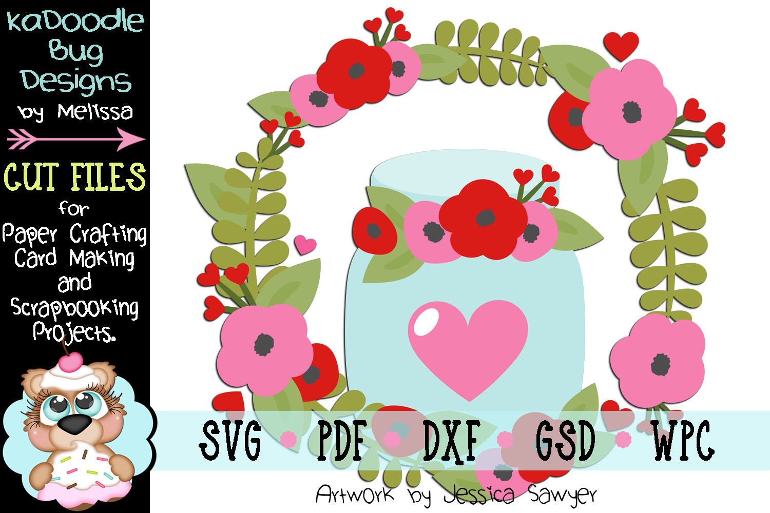 Country Valentine Wreath Cut File - SVG PDF DXF GSD WPC example image 1