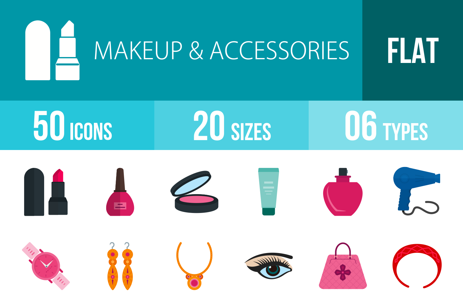 50 Makeup & Accessories Flat Multicolor Icons example image 1