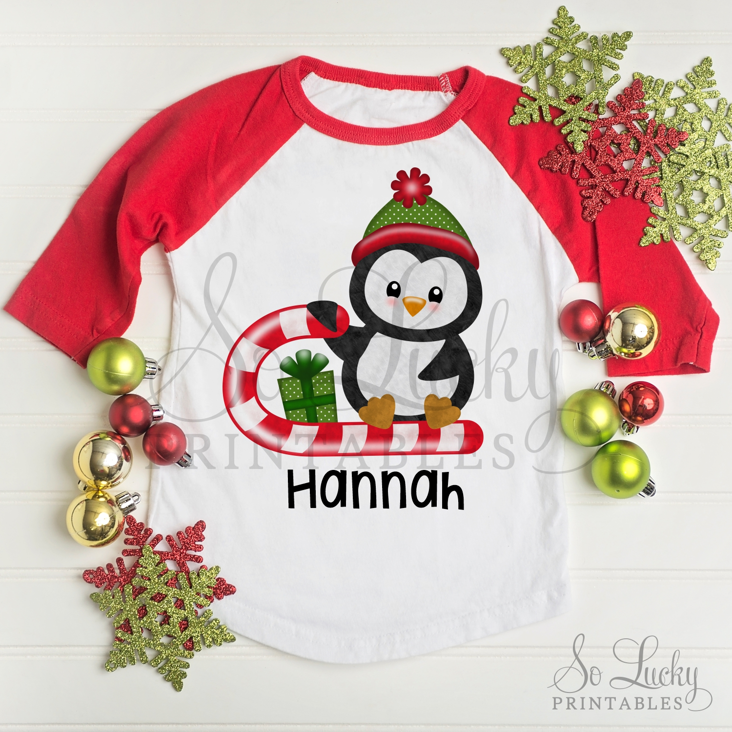 Christmas penguin watercolor printable sublimation design example image 2