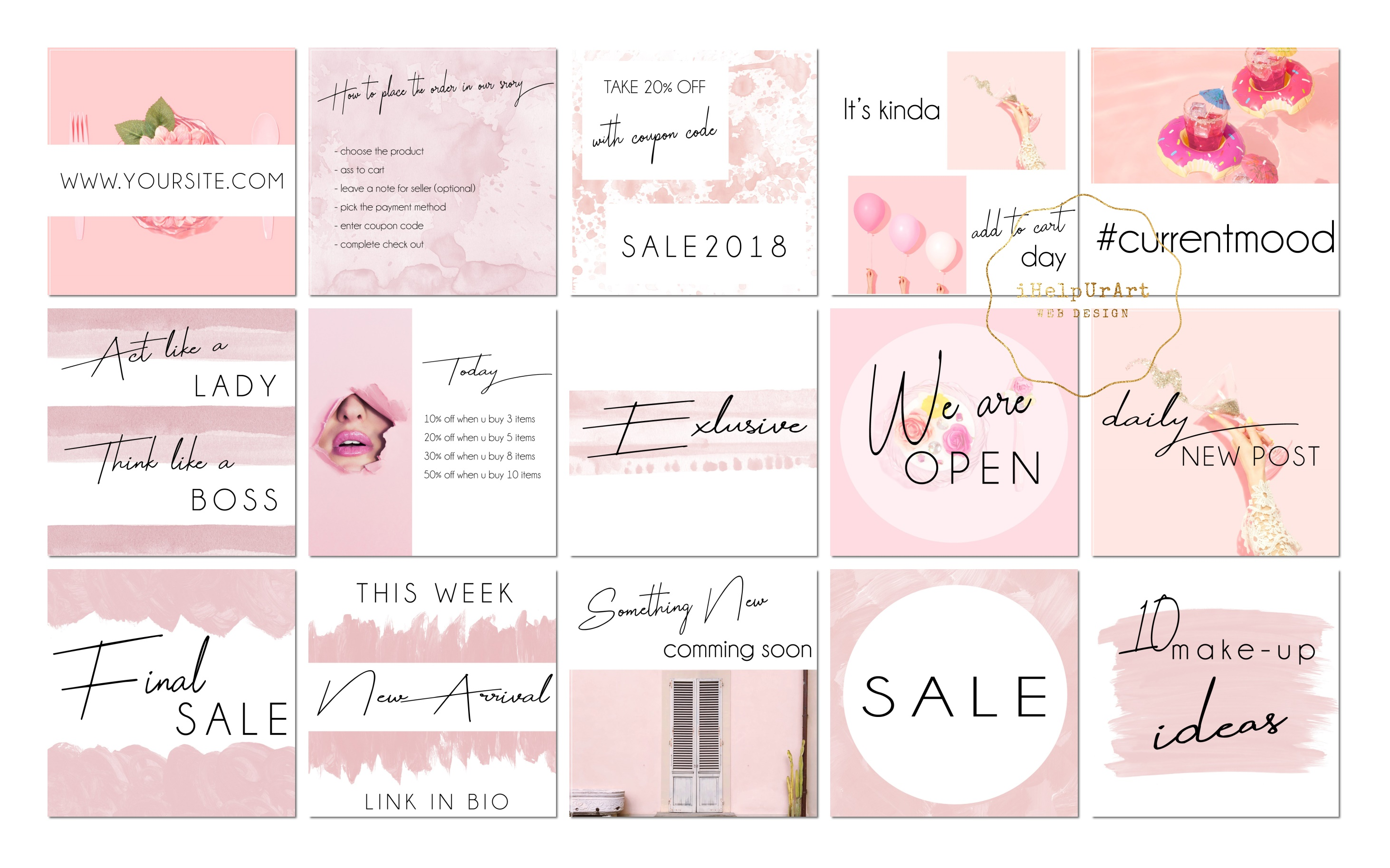 Pink Watercolor Instagram Posts Template example image 3