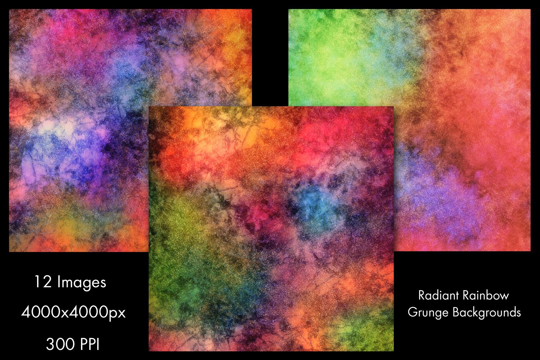 Radiant Rainbow Grunge Backgrounds - 12 Image Set example image 2