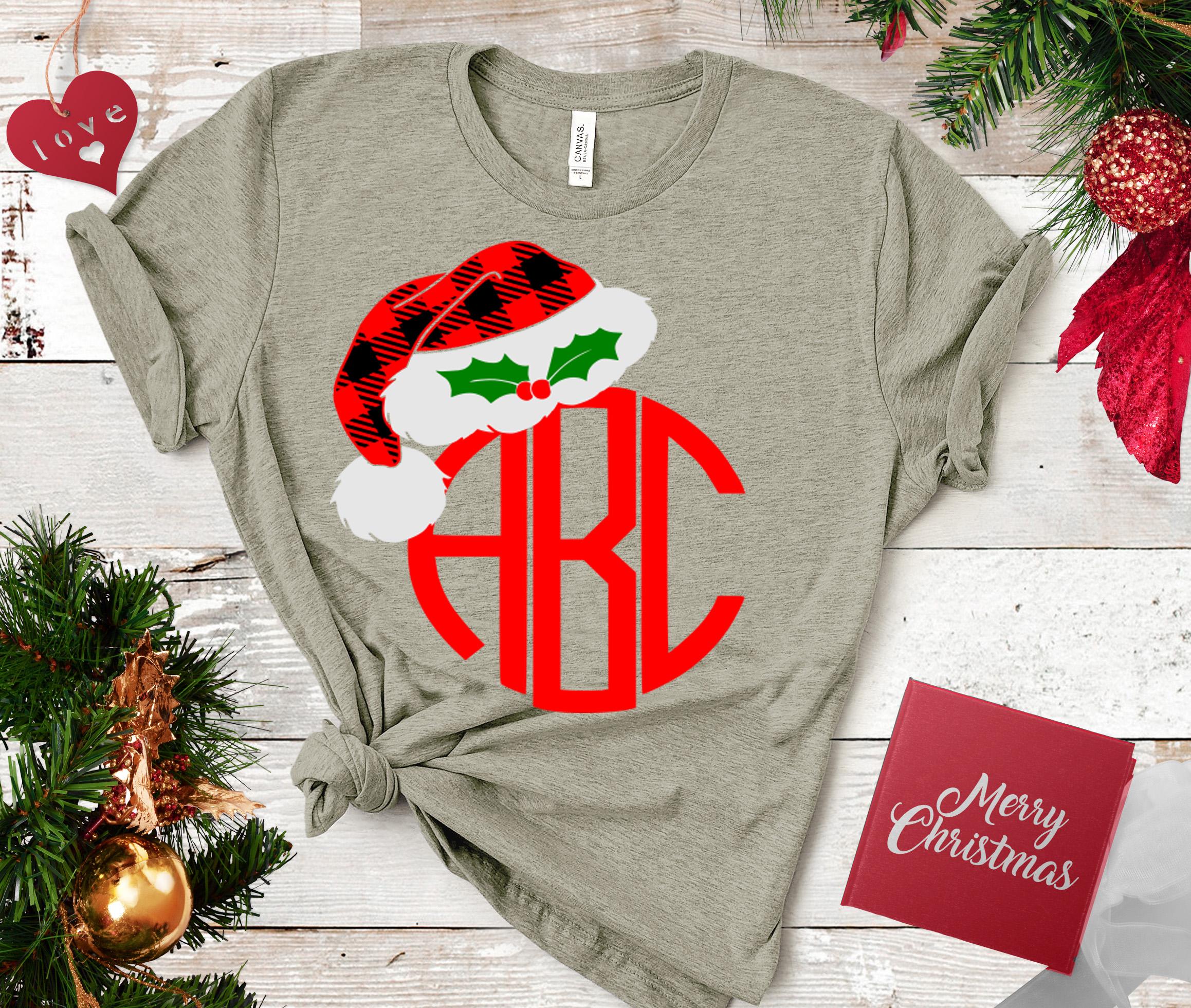 Christmas SVG - Plaid Santa Hat Monogram Frame svg example image 2