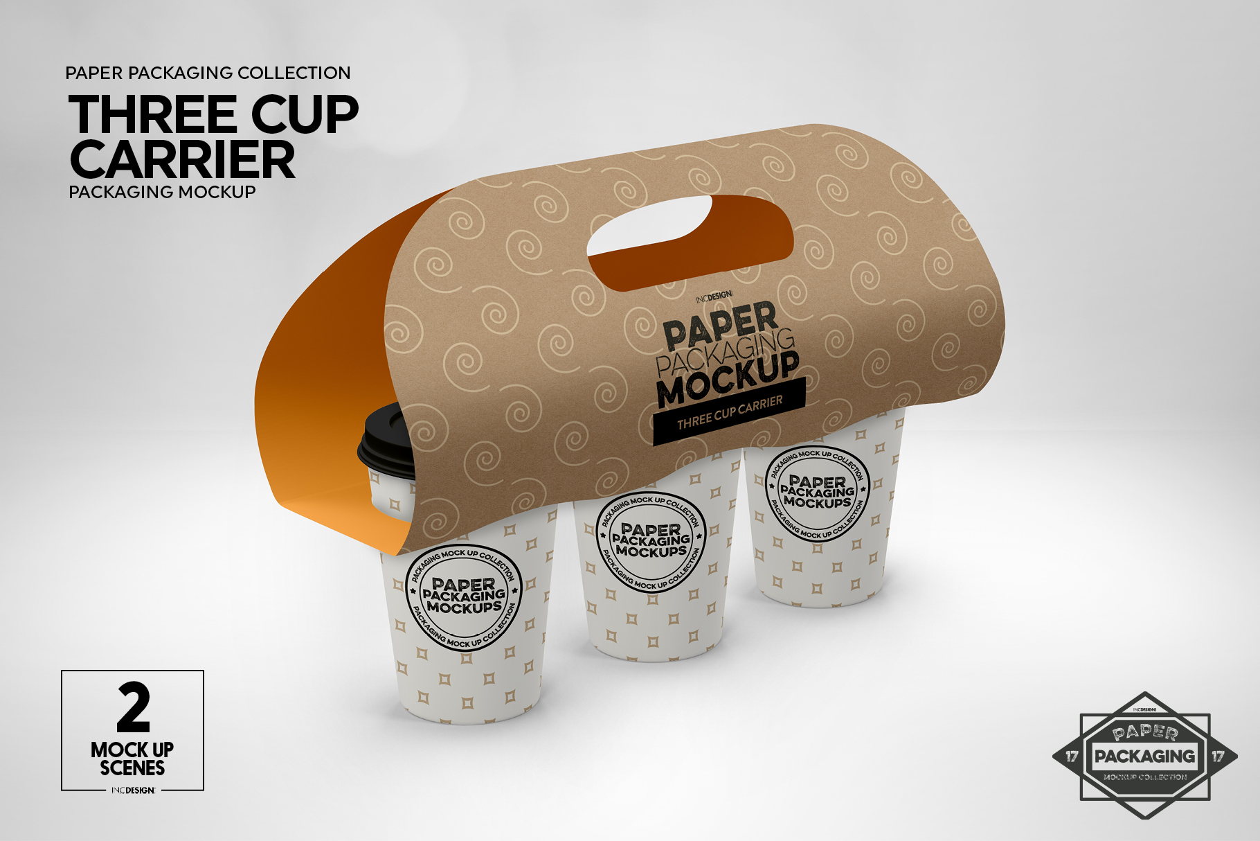 Three Cup Paper Carrier Packaging Mockup example image 8