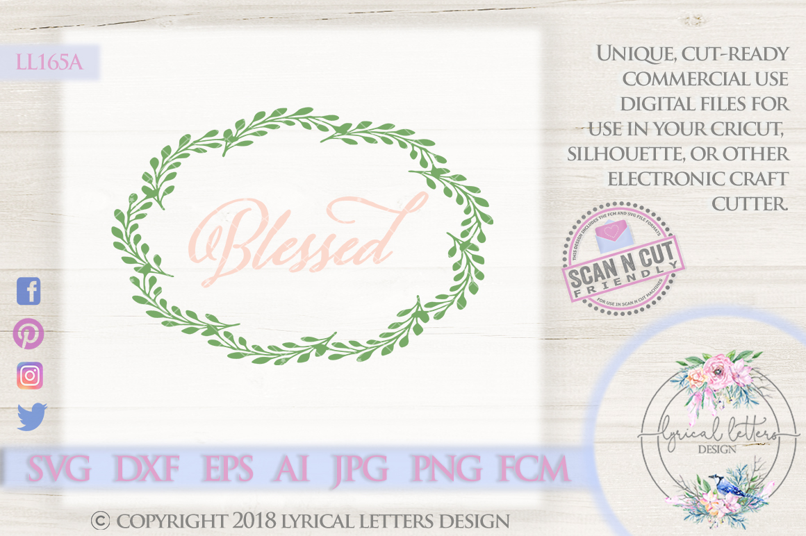 Blessed Farmhouse Wreath SVG Cut File LL165A example image 1