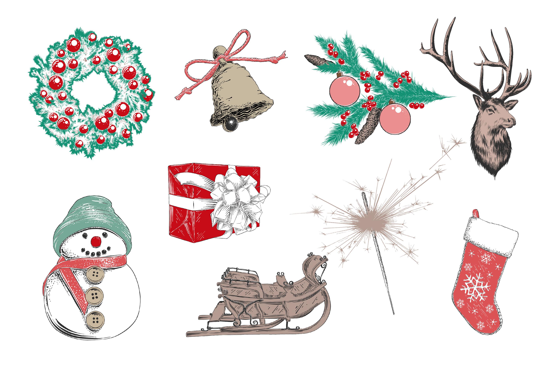 Winter holidays hand drawn art set example image 3