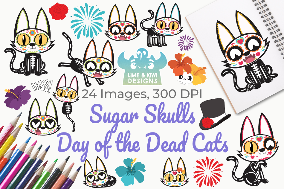 Sugar Skulls Day of the Dead Cats Clipart, Instant Download example image 1