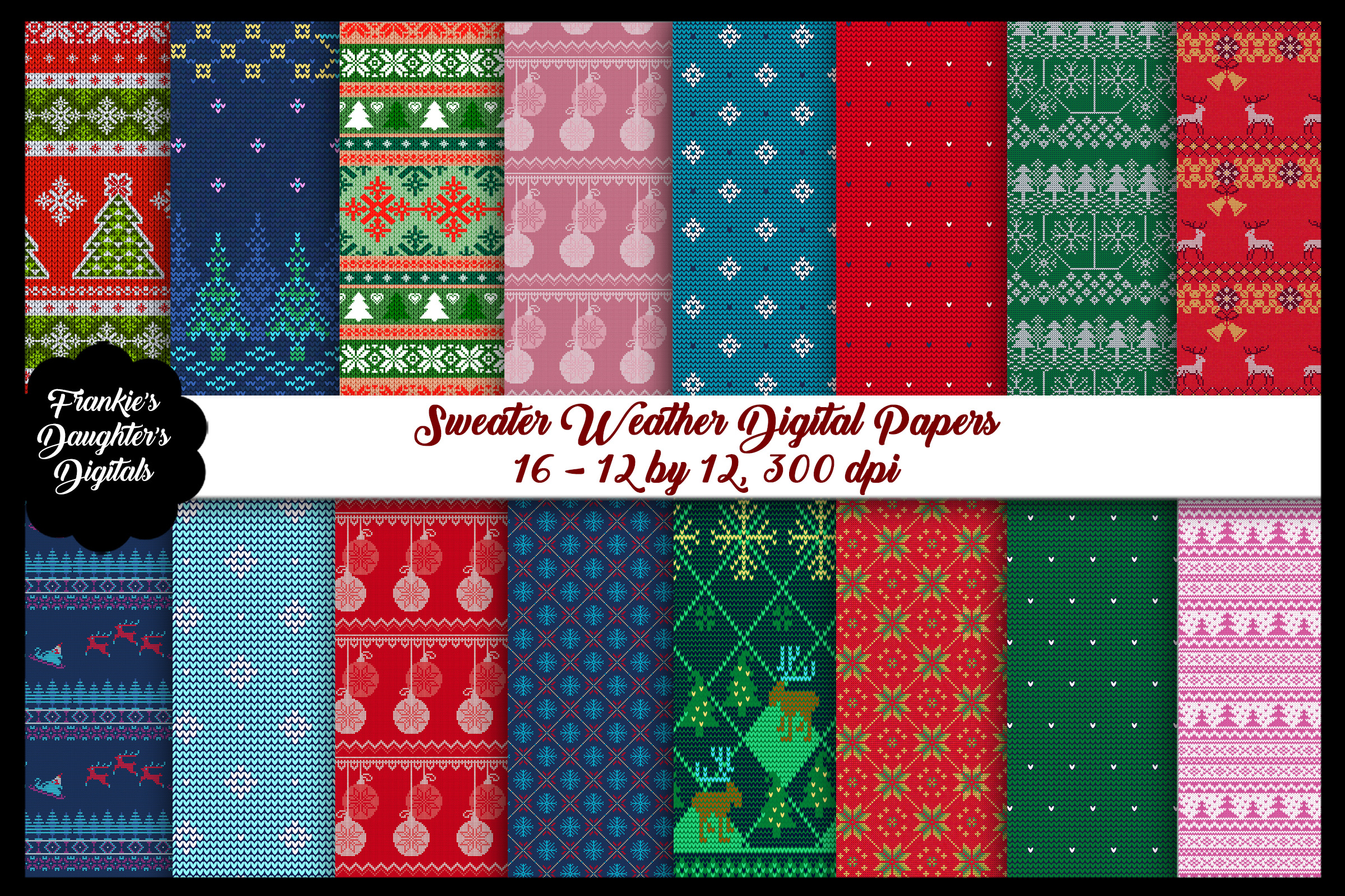 Christmas Sweater Weather Digital Paper Pack example image 1