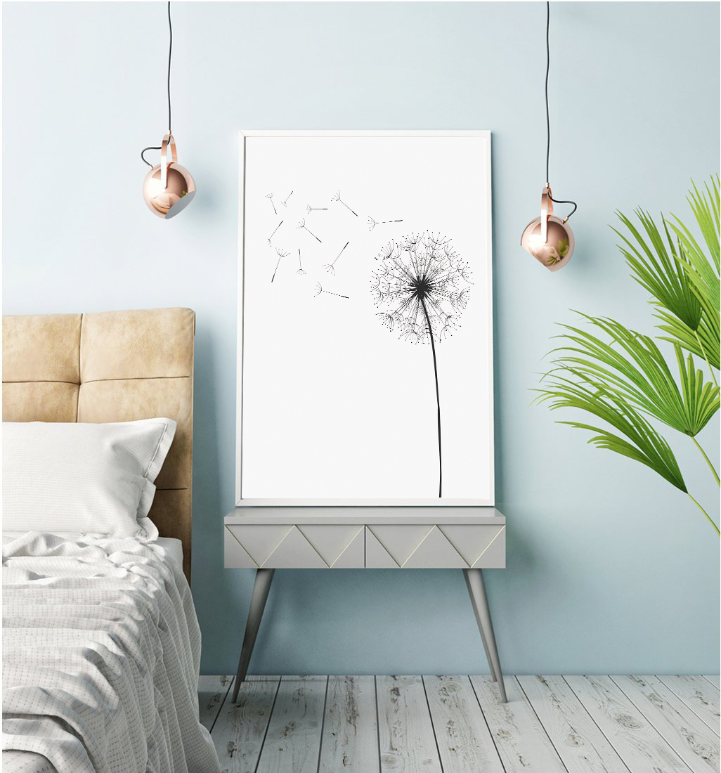 Dandelion Wall Art, Black and White Prints, Monochrome Print example image 3