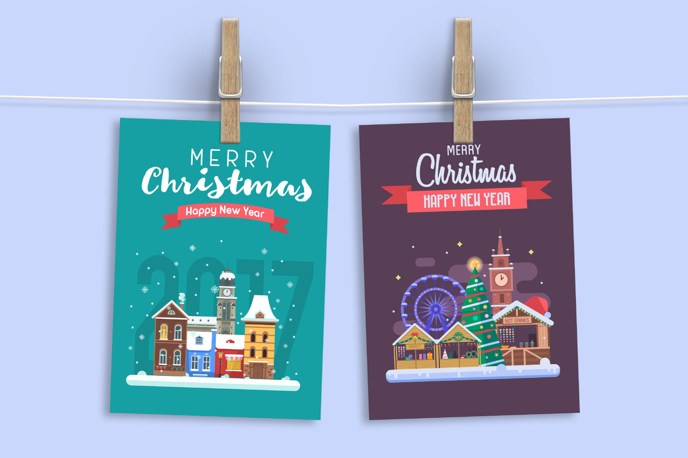 New Year and Christmas Cards with Europe Cities example image 6