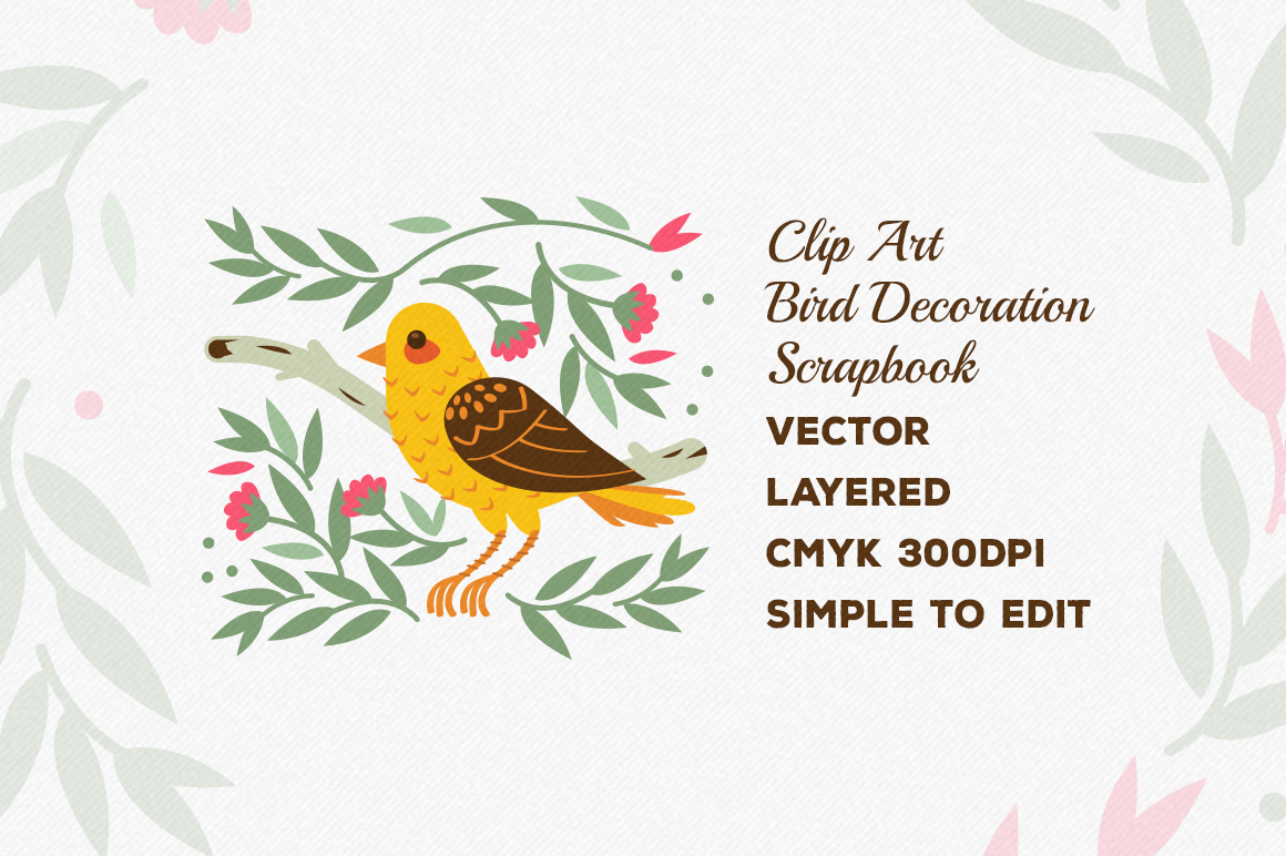 Birds and Flowers Vector Decorations example image 2