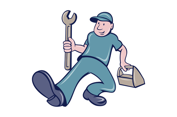 Mechanic Spanner Foot Forward Cartoon example image 1