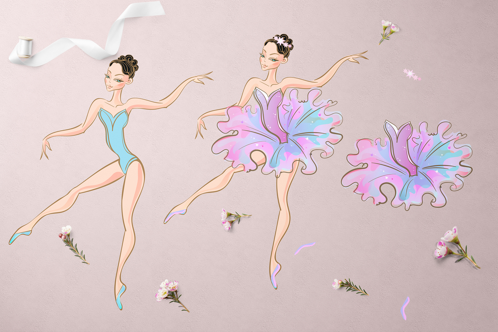Ballerina doll with a set of dresses. example image 2