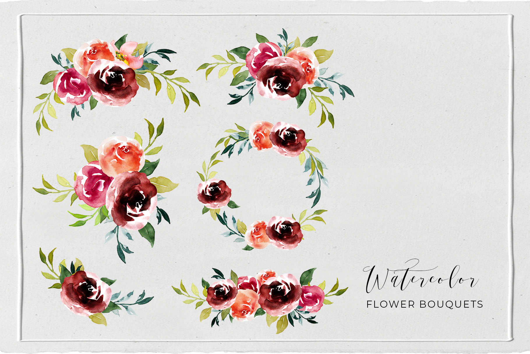 Watercolor Floral Wreath, Frames and Bouquets example image 4