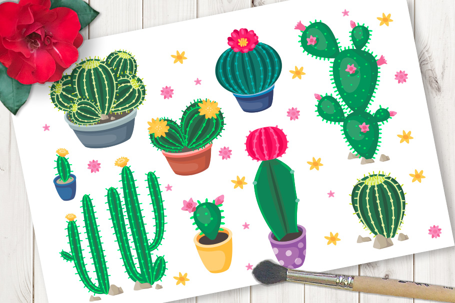 Vector collection of cartoon cute colorful cacti example image 1