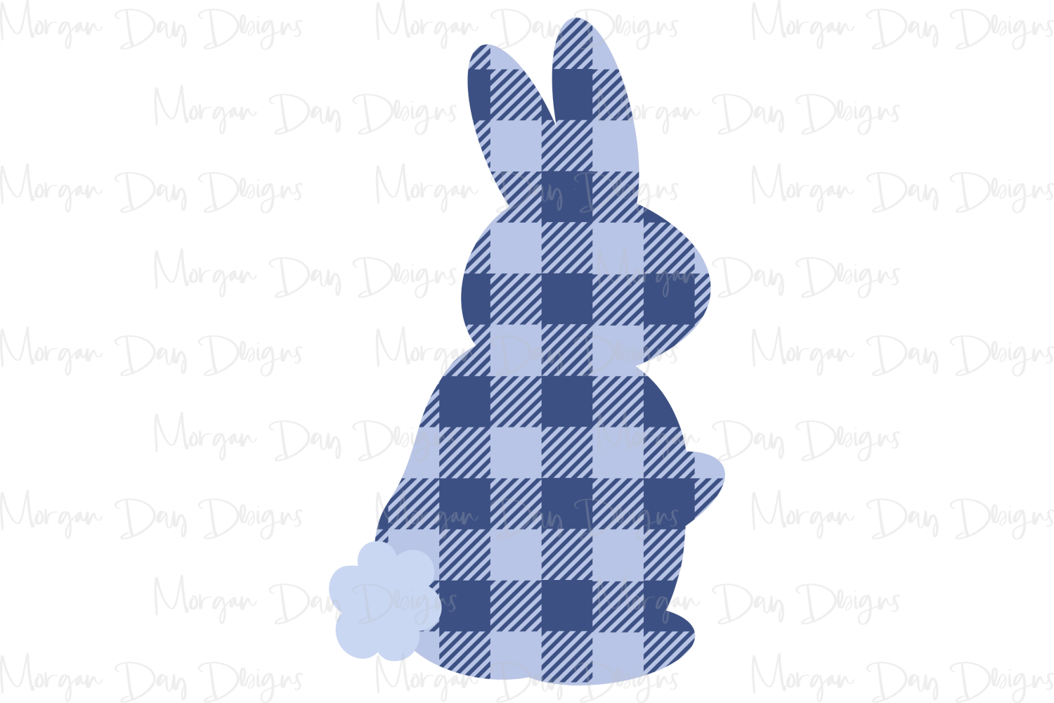Buffalo Plaid Bunny - Easter SVG, DXF, AI, EPS, PNG, JPEG example image 2