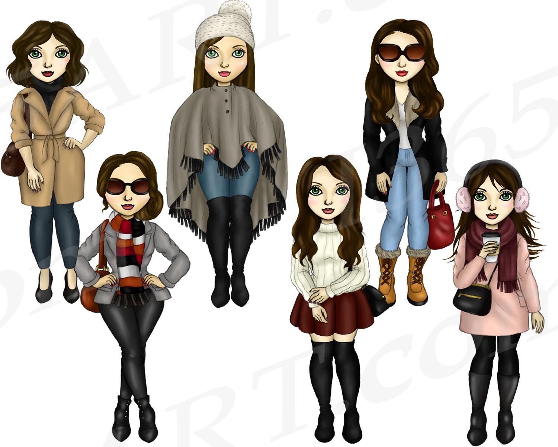 Winter Fashion Girls Brunette Hair Planner Clipart example image 3