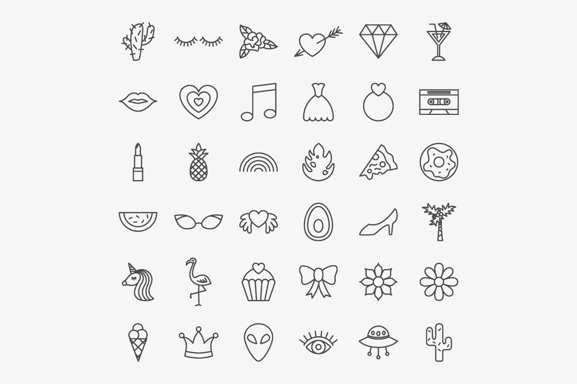 Girl Power Line Art Icons example image 2