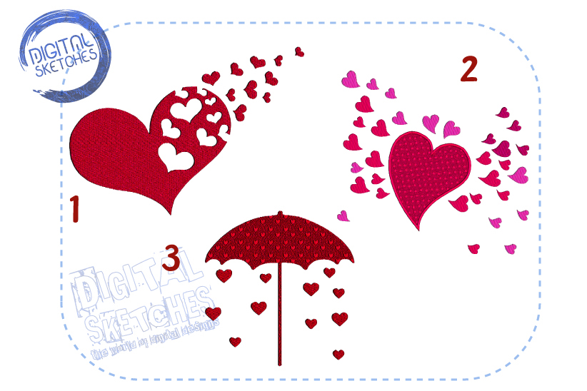 3 Designs Love Heart Rain Set Bundle Machine Embroidery example image 1