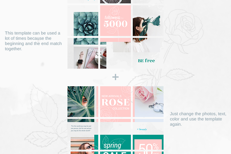 Instagram Puzzle Template - Rose example image 7