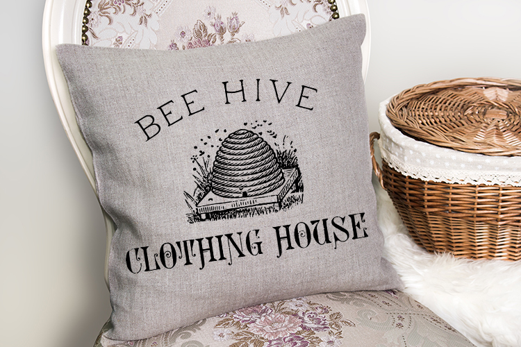 Vintage Bee Label printable transfer furniture pillow art example image 1