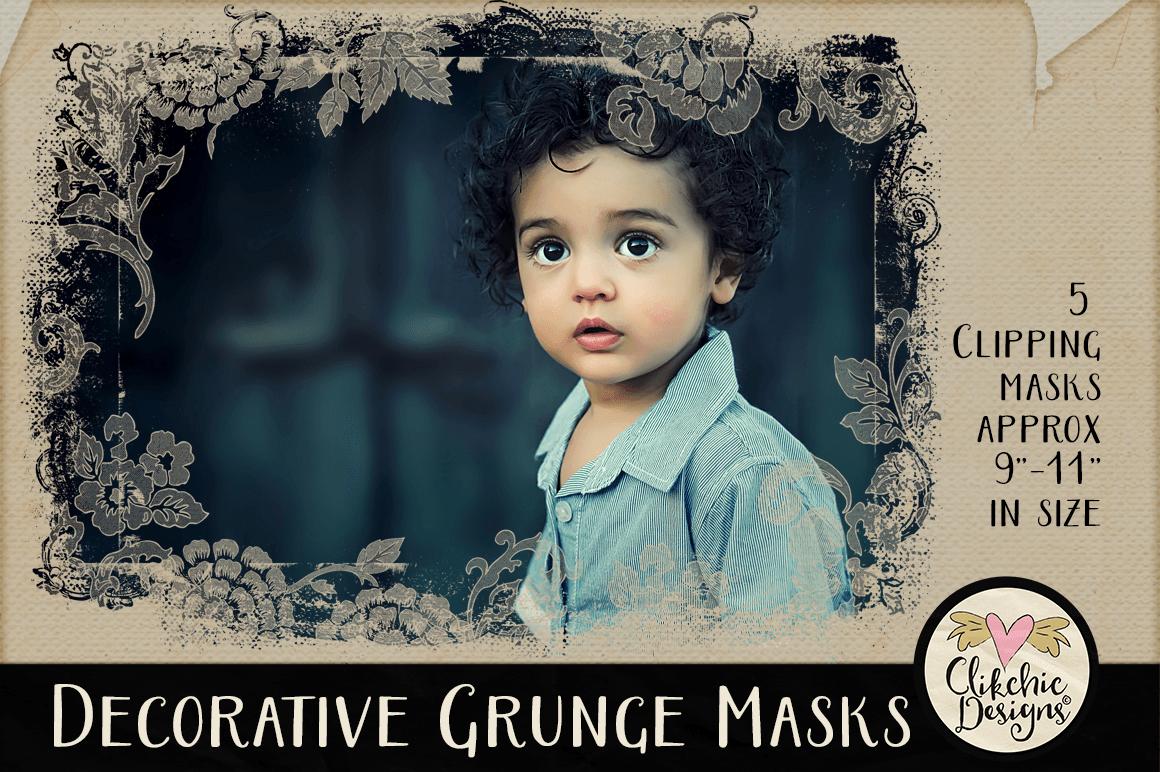 Decorative Grunge Photoshop Clipping Masks & Tutorial example image 2