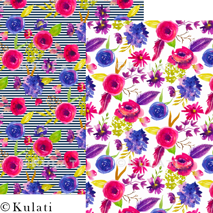 Bohemian Summer Watercolor Floral Patterns example image 2