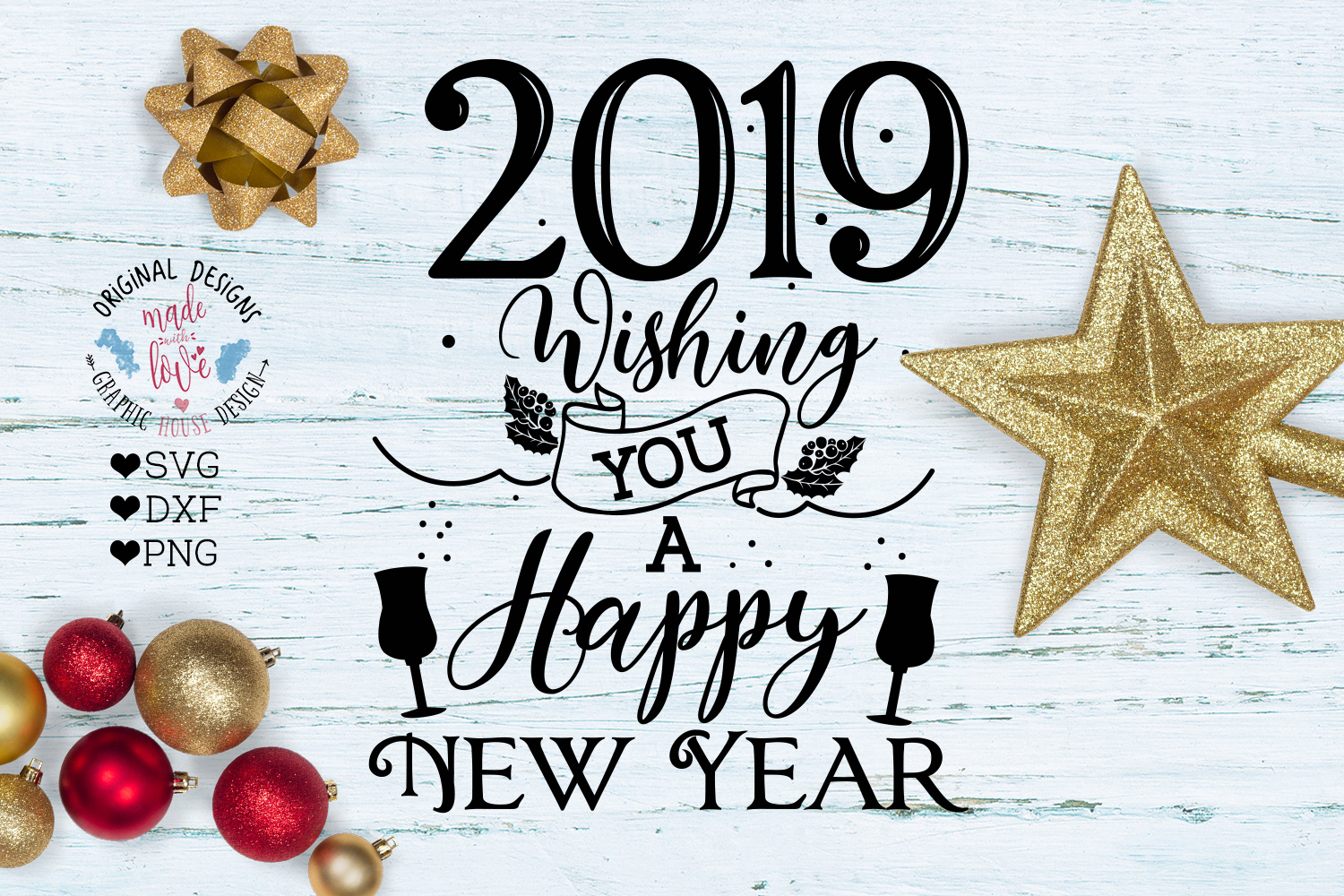 2019 Happy New Year Cut File - 2019 New Year svg example image 1