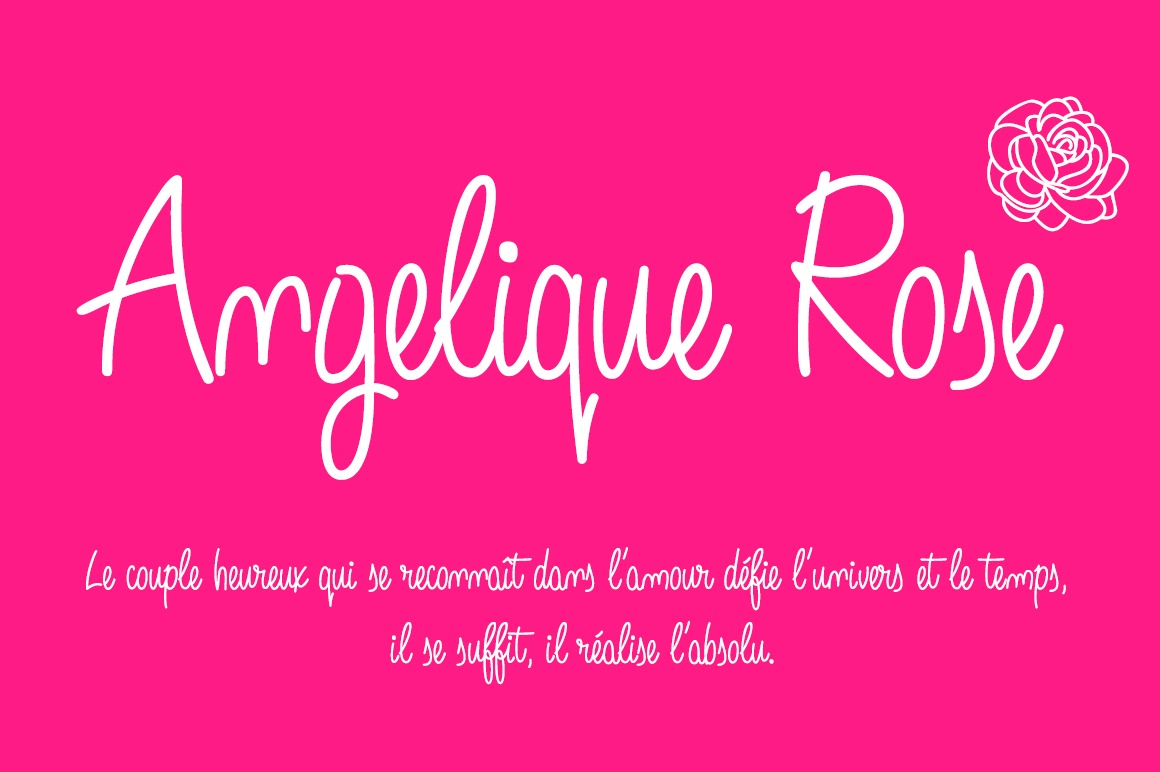 Angelique Rose Script font -pink background-