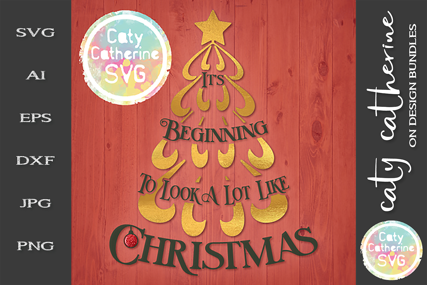 It's Beginning To Look A Lot Like Christmas SVG Cut File example image 1
