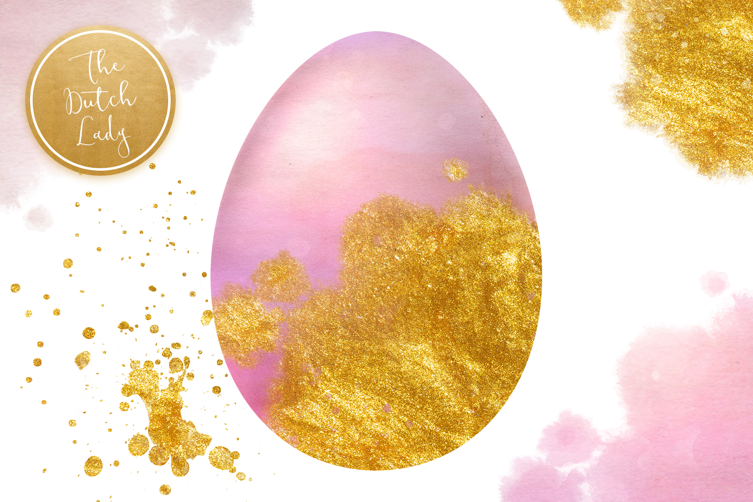 Sparkly Easter Eggs Clipart Set example image 3