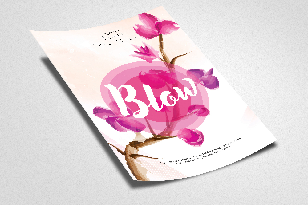 Floral Love Typography Template example image 2