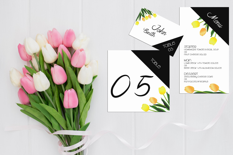 Asymmetric Tulips Wedding Invitation Kit example image 4
