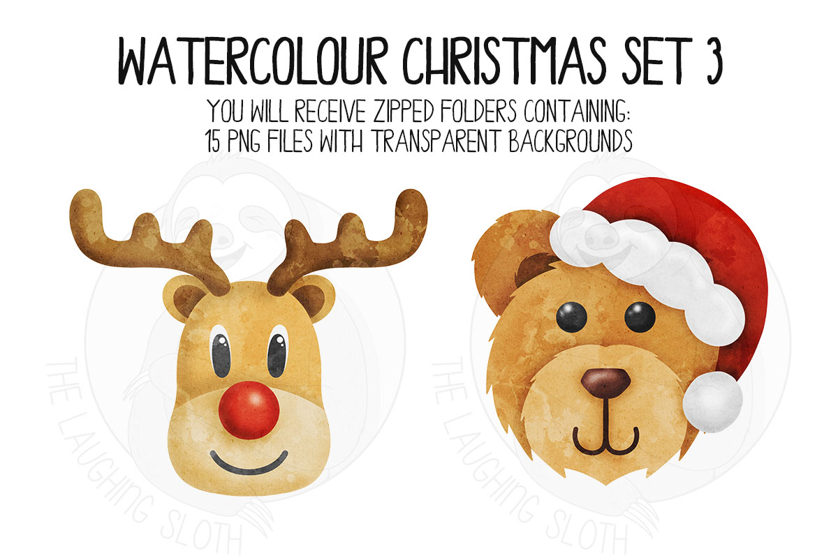 Watercolor Christmas Clipart Set 3 example image 3