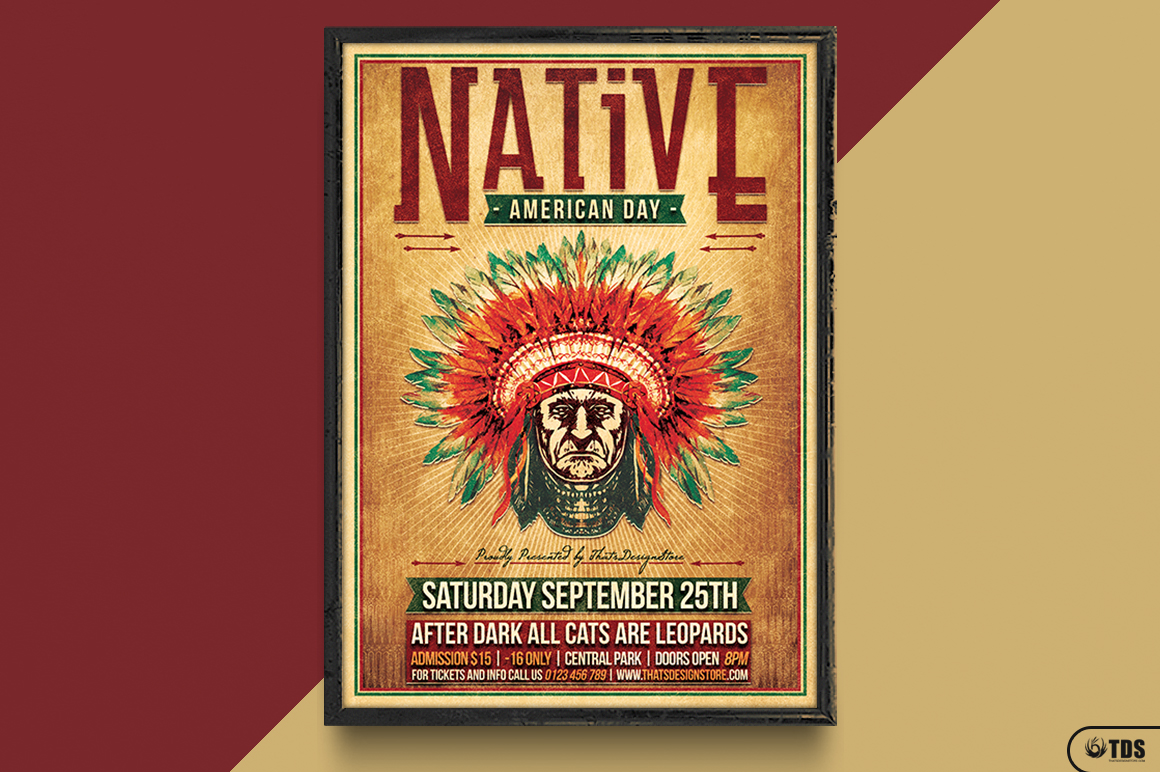 Native American Day Flyer Template example image 6