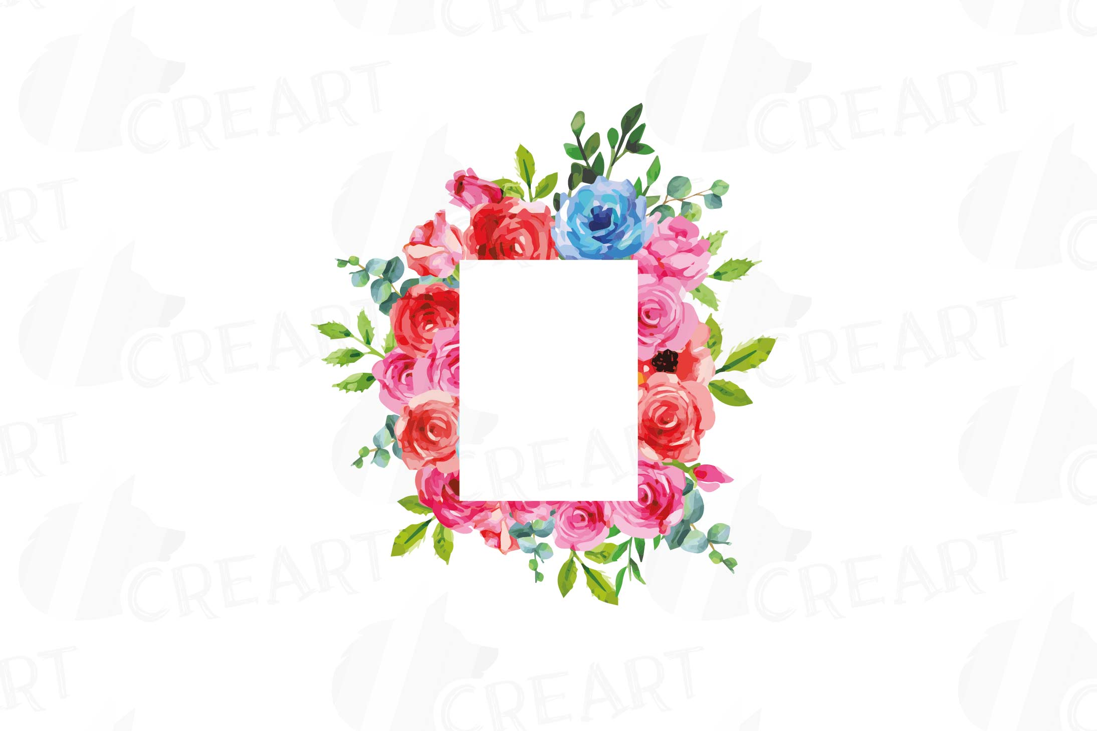 Boho pink and blue floral frames watercolor clip art pack example image 8
