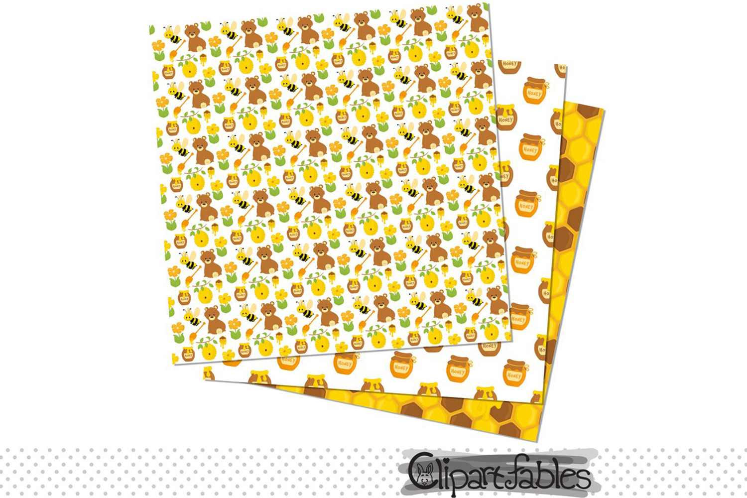 Bee Clipart Set, Honey art, Bumble Bee and DIGITAL papers example image 2