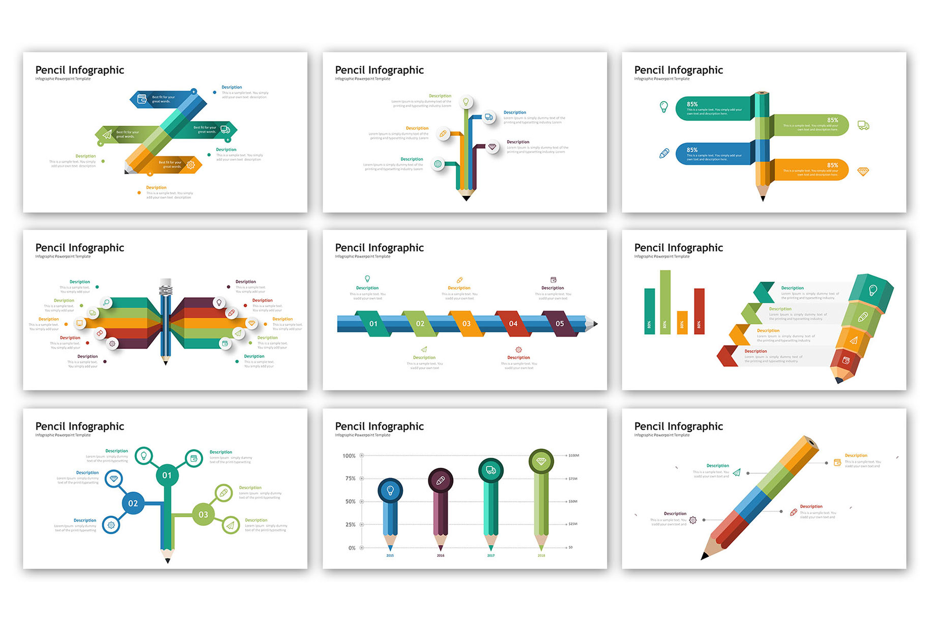 Pencil Presentation - Infographic Template example image 2