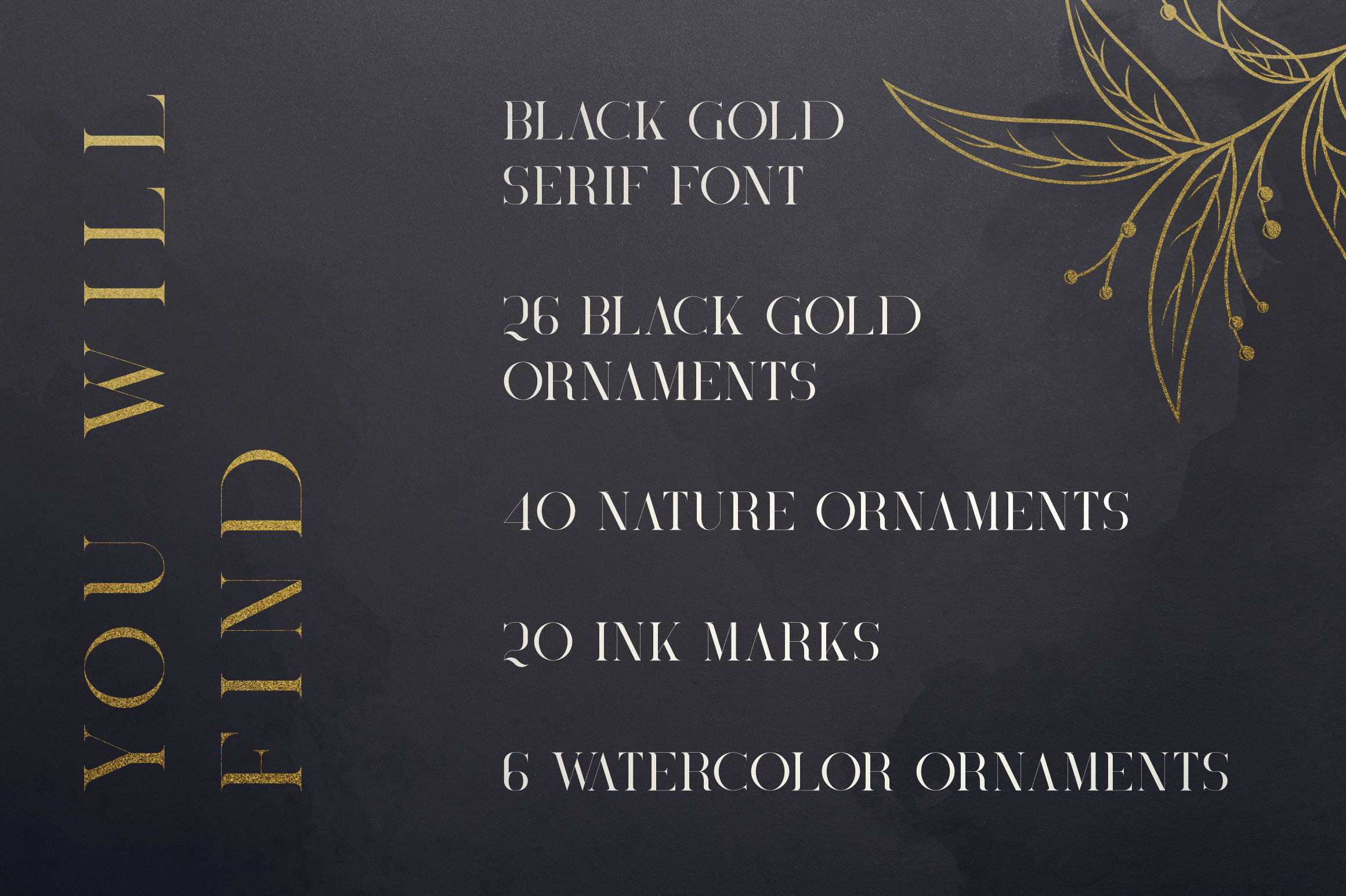Black Gold serif font Extras example image 2
