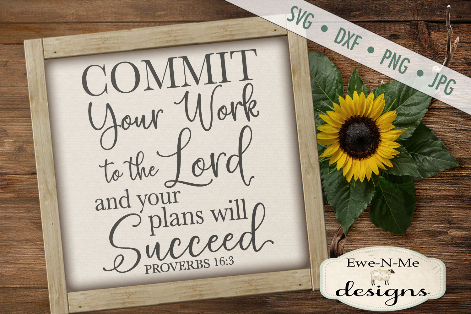 Commit Your Work To The Lord - Bible Verse Proverbs 16 - SVG example image 2