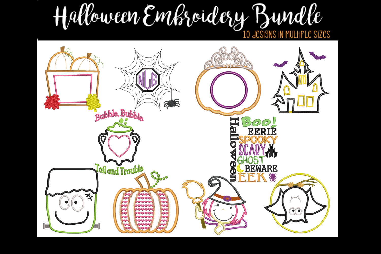 Halloween Bundle Applique Embroidery Designs example image 1